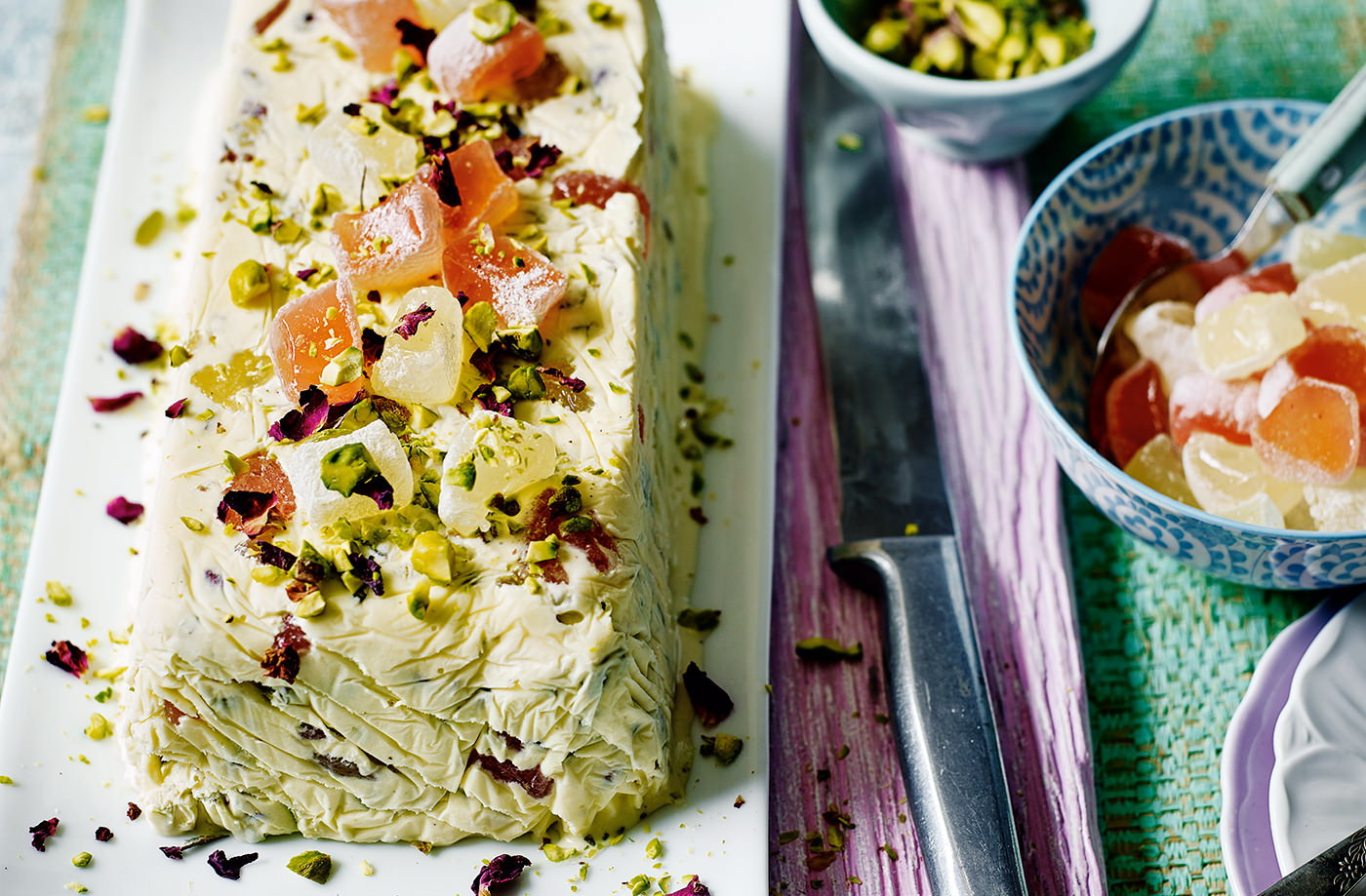 Pistachio and Turkish delight ice cream terrine recipe