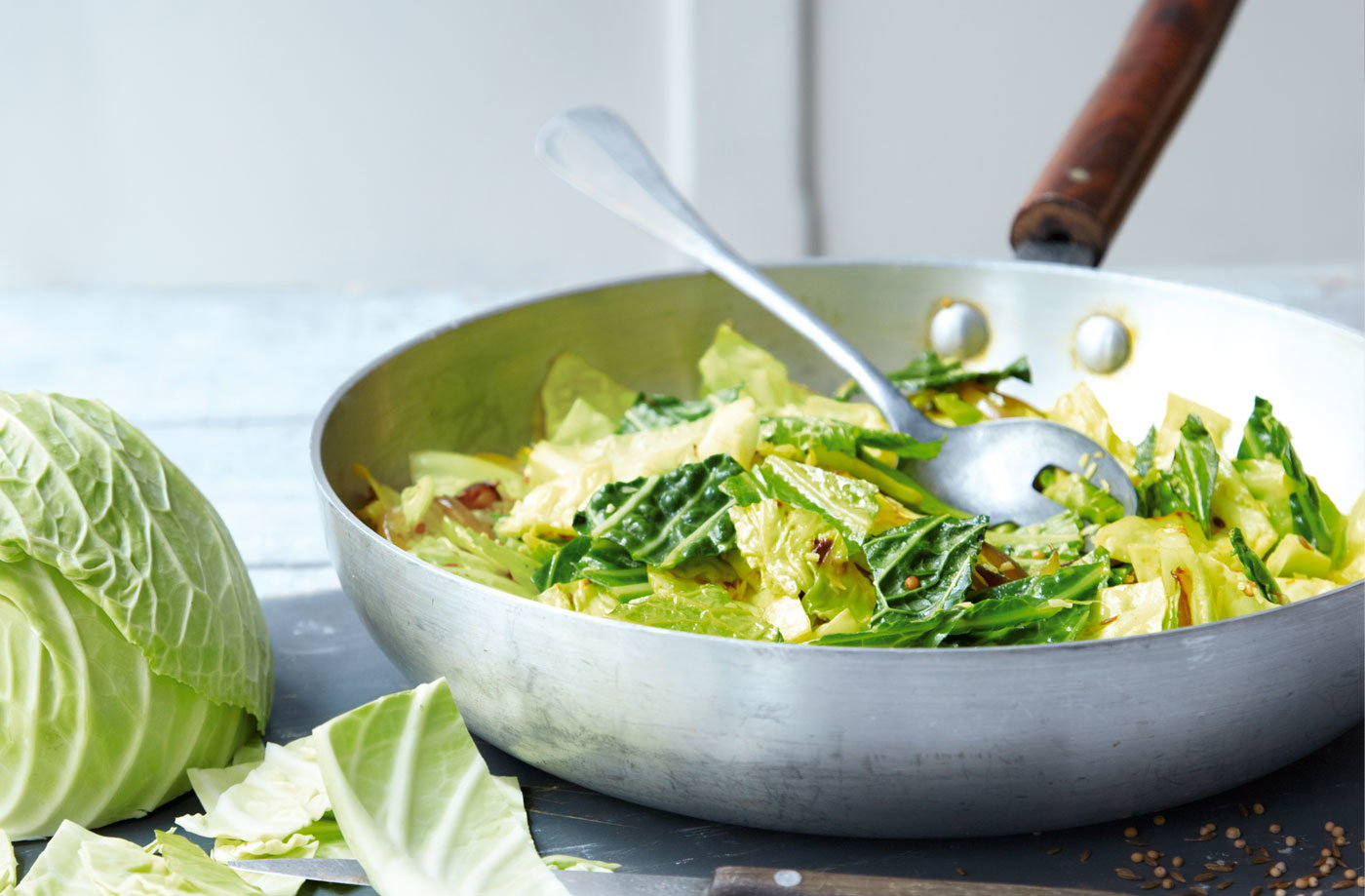Indian-spiced cabbage with ginger and coconut recipe