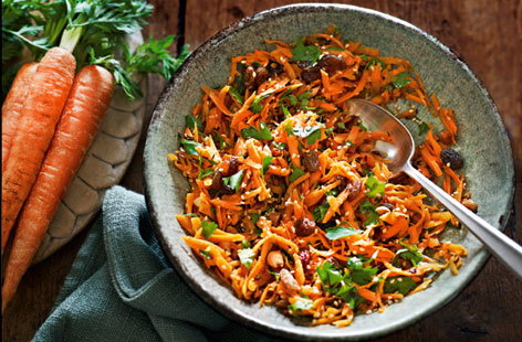 This colourful salad is the ideal barbecue side and combines grated carrot with sultanas, almonds and toasted sesame seeds.