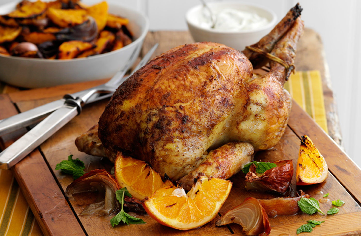 Indian-spiced chicken with roast squash