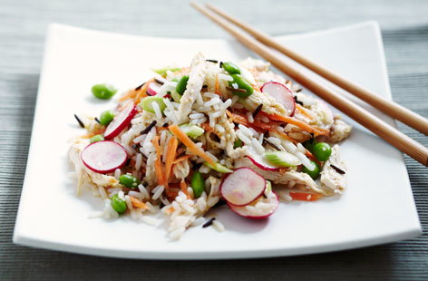 Mixed rice salad with ginger and lemon