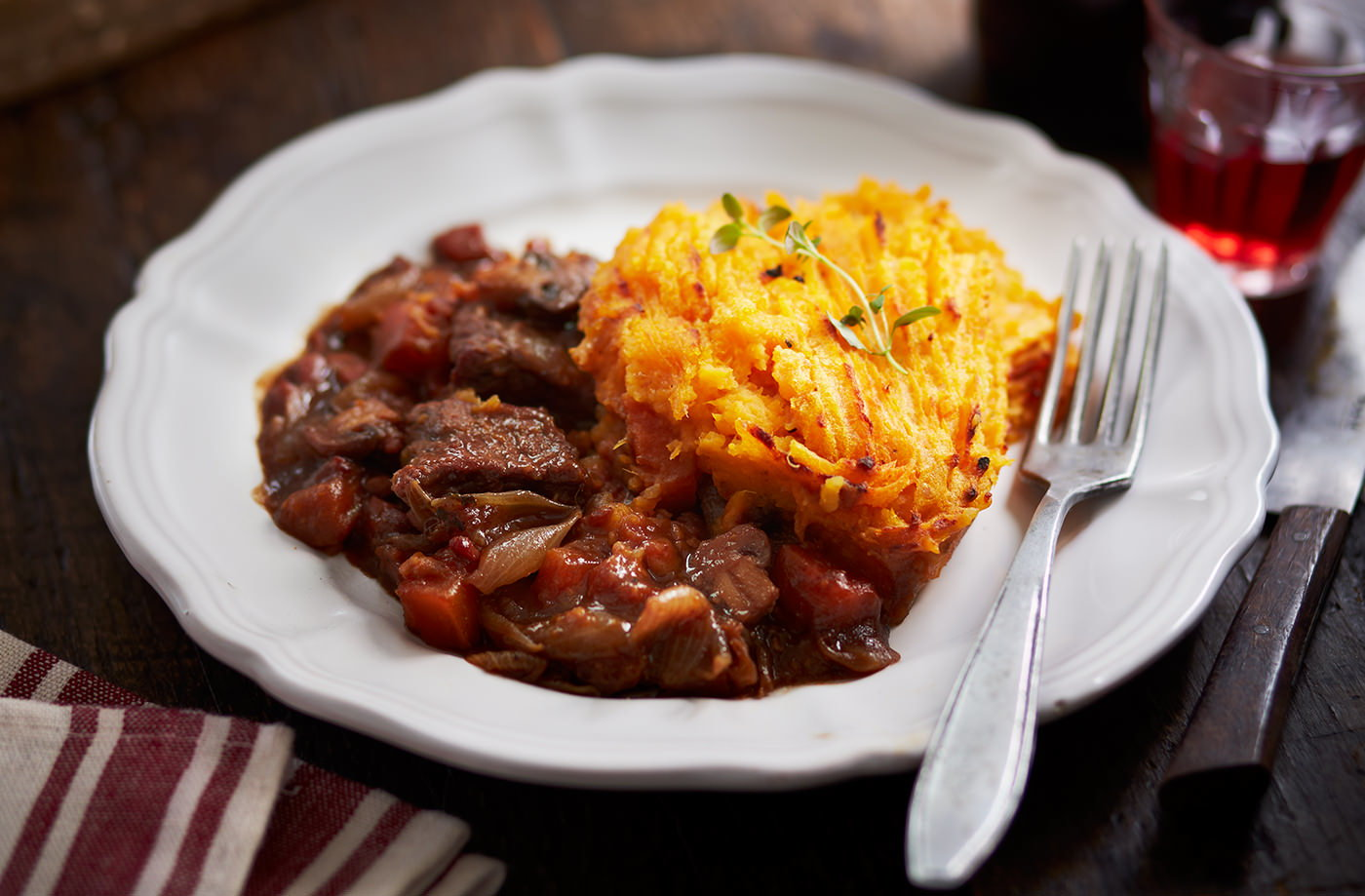 Red Wine Stew Cottage Pie With Sweet Potato Topping