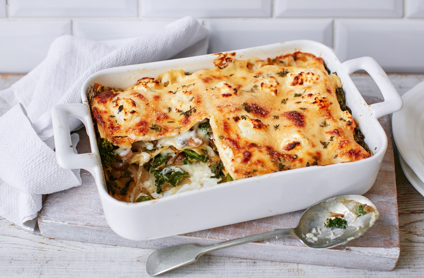 Kale, mushroom and goat's cheese lasagne recipe