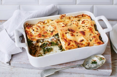 Kale, mushroom and goat's cheese lasagne