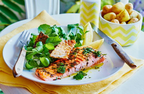 Cooking salmon on the BBQ brings out that beautiful smokiness that the fish is known for. Combine with some refreshing lemon and herbs and serve with a crispy skin for a healthy, textured and flavourful dish.