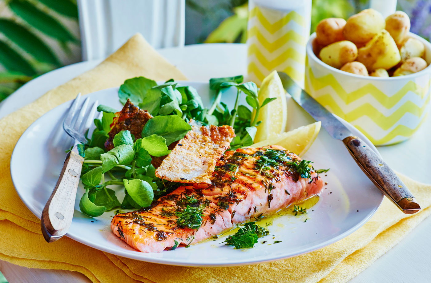 Barbecued lemon and herb salmon recipe