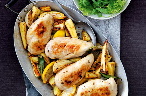 Lemon chicken and root vegetable bake THUMB