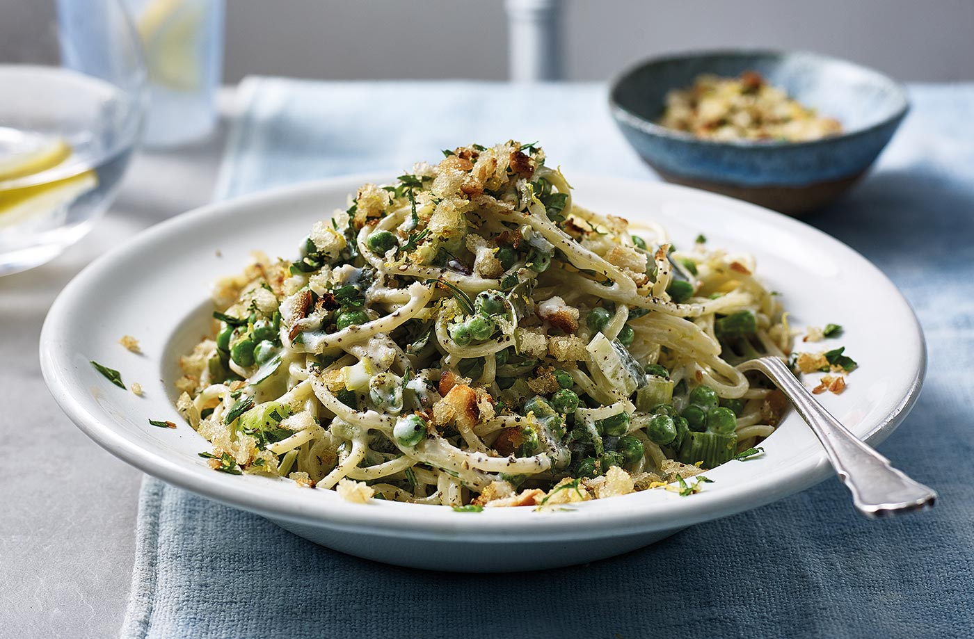 Lemony pea spaghetti recipe
