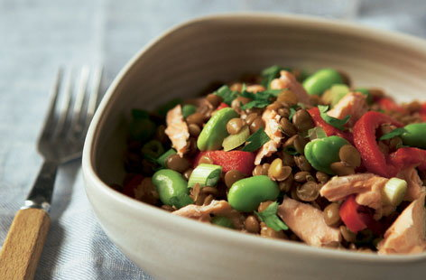 Lentil salad with flaked salmon HERO