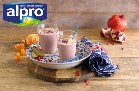 Alpro, pomegranate and almond smoothie