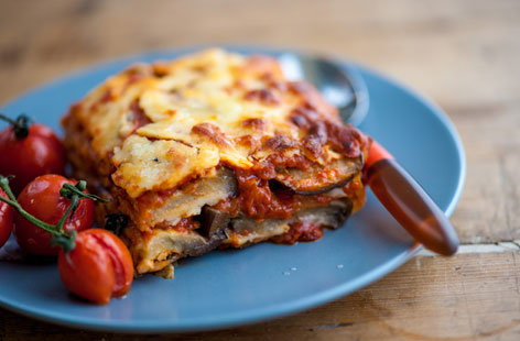Marcello Tully's cheese and tomato aubergine bake will see kids stirring, grating, sprinkling and layering