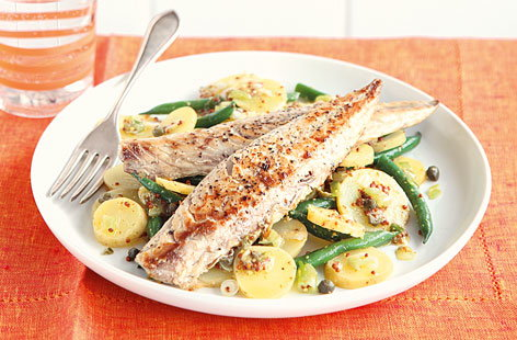 Mackerel with lemon mustard potatoes