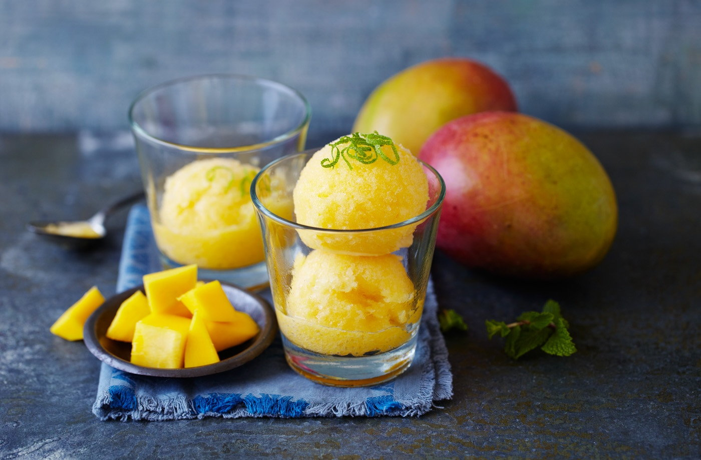 This refreshing sorbet made with tangy limes and juicy mangoes is a ...