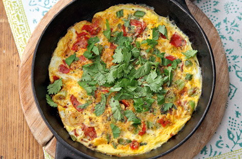 the depth of flavours and heat in this Indian-inspired omelette ...