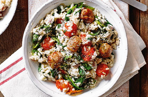 Meatball, spinach and tomato risotto