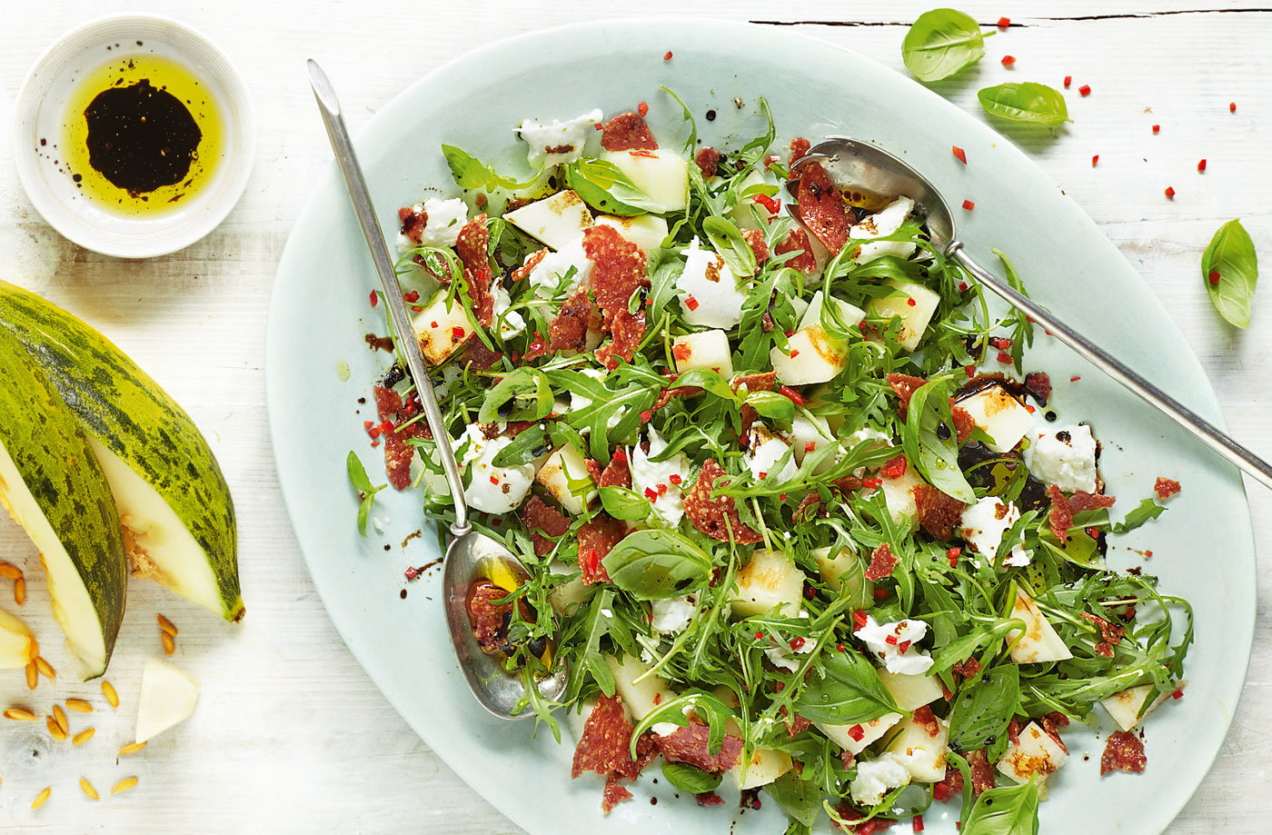 Melon, mozzarella and salami salad recipe