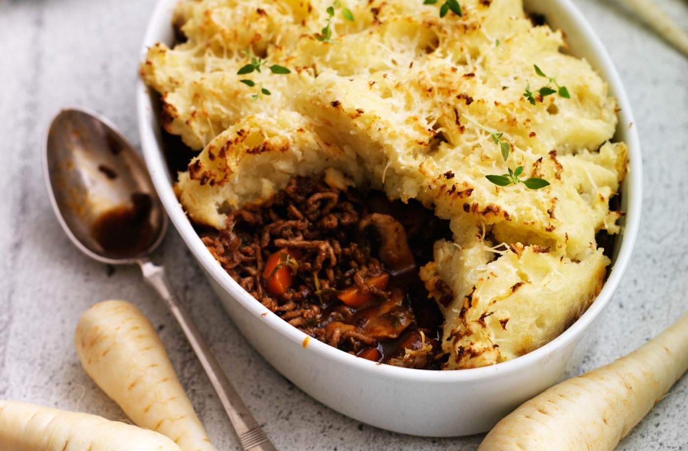 Why not try this traditional steak cottage pie topped with a parsnip ...