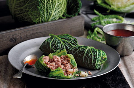 Savoy cabbage and pork dumplings