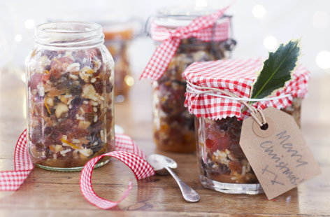 This festive mincemeat will last a very long time if kept in an airtight container, so you can make this well in advance of giving.