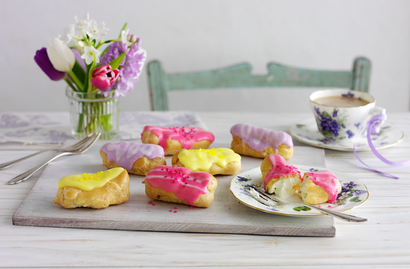 Mini eclairs with coloured icing recipe