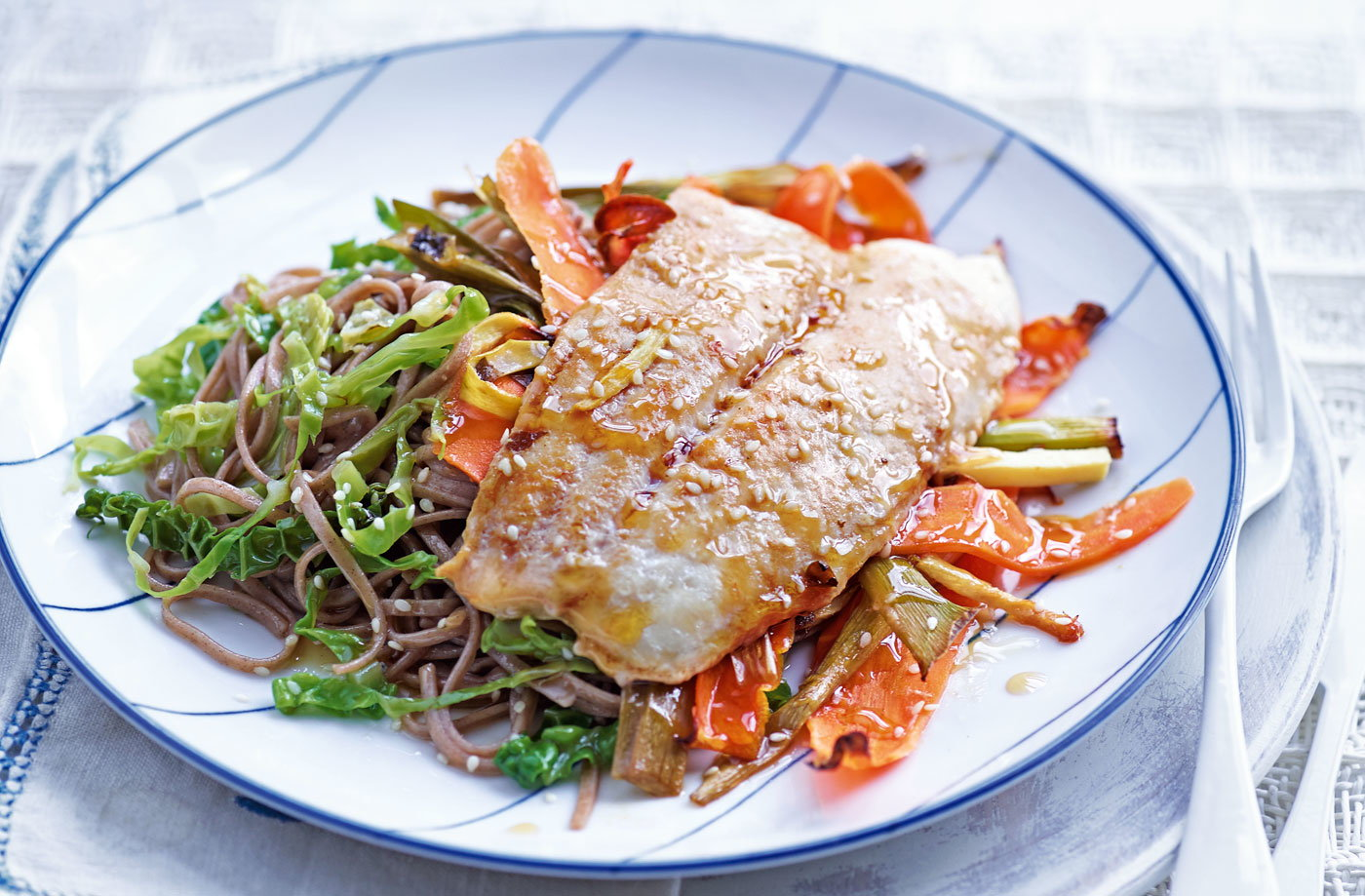 Miso fish with sesame noodles and greens
