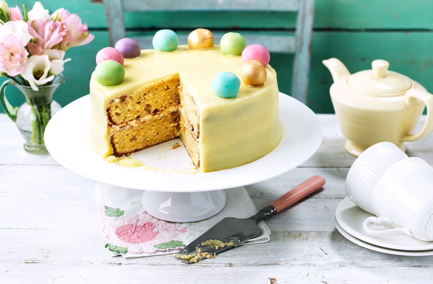 Lemon, ginger and almond simnel-style cake