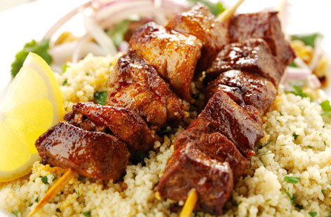 Moroccan Pork Kebabs with Couscous (h)