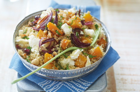 Orange zest, fresh mint and toasted hazelnuts make this butternut squash and couscous salad an exciting treat for all, veggie or no. Sprinkle the vegetables with Ras al hanout before roasting for an authentic moroccan aroma.