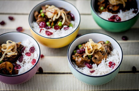 Mushroom and cranberry rice pots(t)