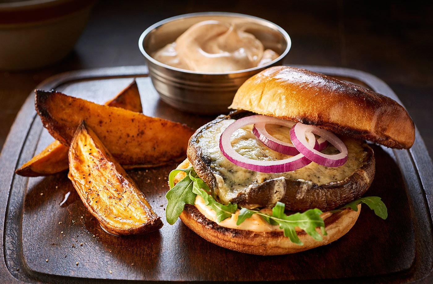 Muenster Stuffed Veal And Mushroom Burger   Mushrooms On The Menu ...