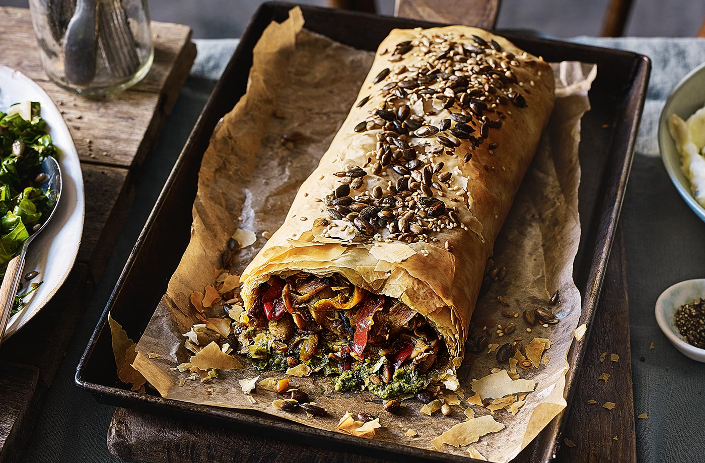 Mushroom, pepper and pesto strudel recipe