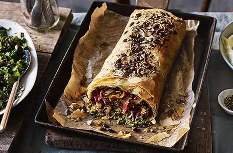Try something different for your Sunday roast – this mushroom strudel recipe with homemade pesto is sure to impress