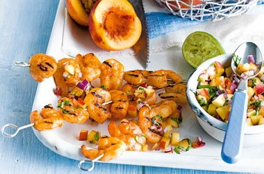 Nectarine and basil salsa with grilled prawns