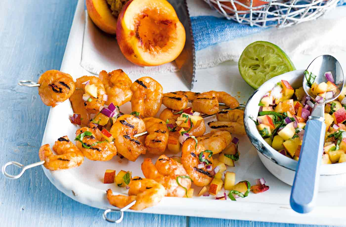 Nectarine and basil salsa with grilled prawns recipe