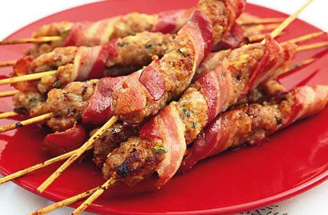 Novelli sausage meat and smoked bacon koftas