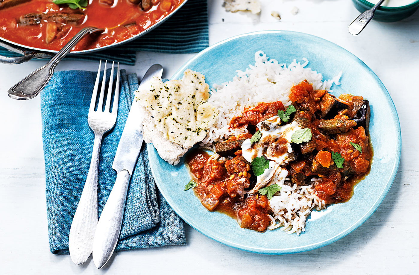 Aubergine okra and tomato curry vegetarian recipes tesco real food forumfinder Gallery