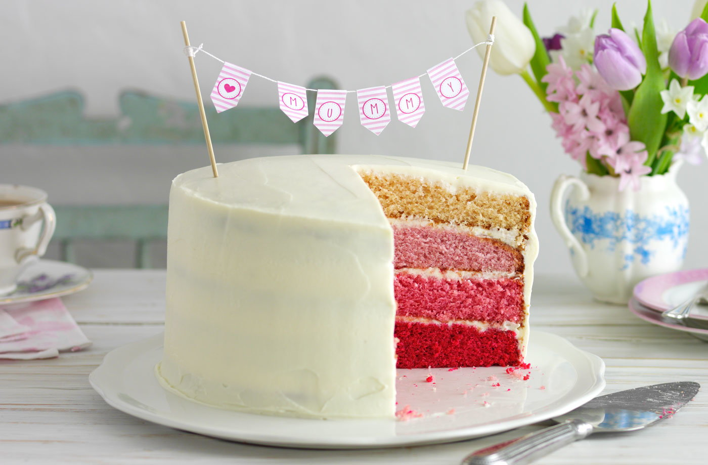 Ombré cake with cream cheese icing recipe