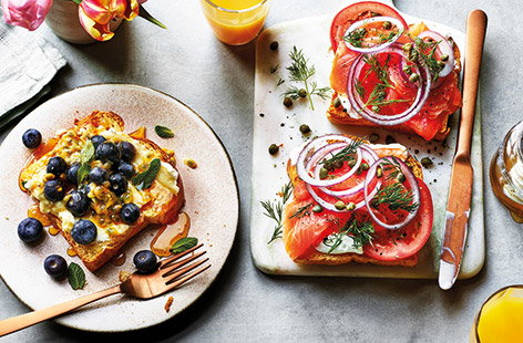 Ricotta and blueberry open sandwich