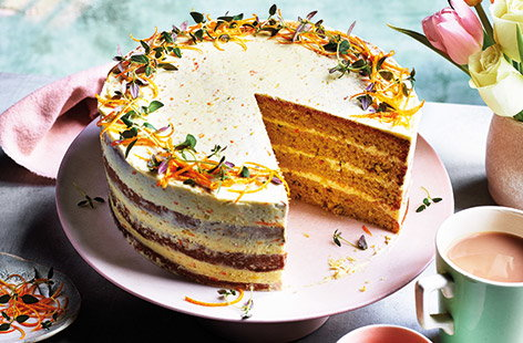 Bake a show-stopping cake with this zingy orange, olive oil and thyme cake – the thyme brings a nice savoury touch. Not only is this cake delicious, but it contains no eggs, making suitable for those who don't eat them (or if you've just run out!).