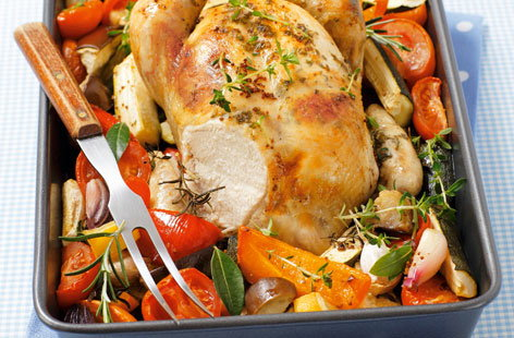 Organic roast chicken with vegetables