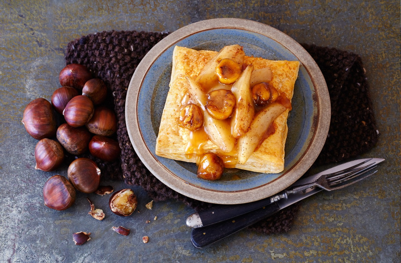 Pear and chestnut squares with caramel sauce
