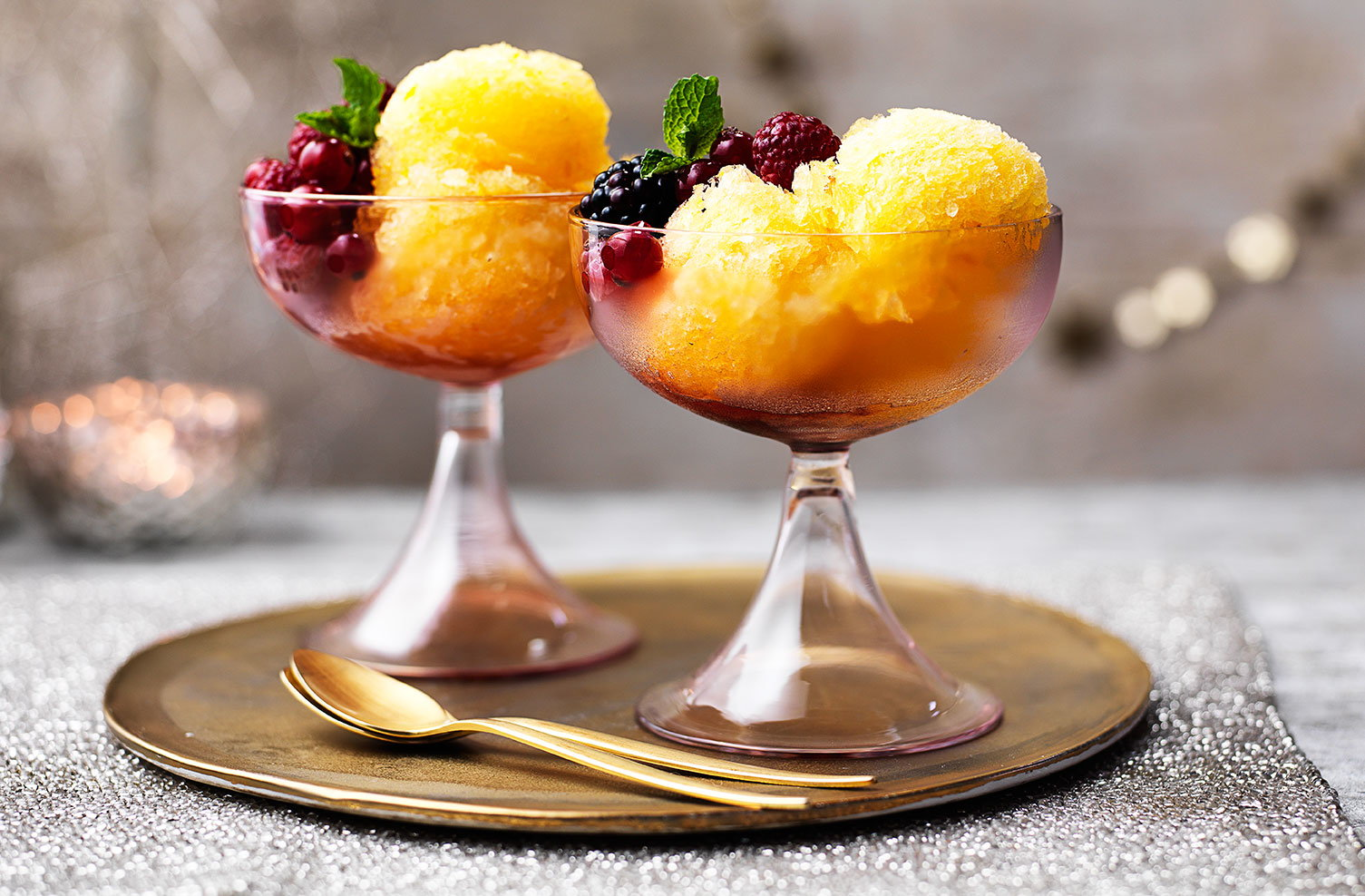 Prosecco and tangerine sorbet with red berries recipe