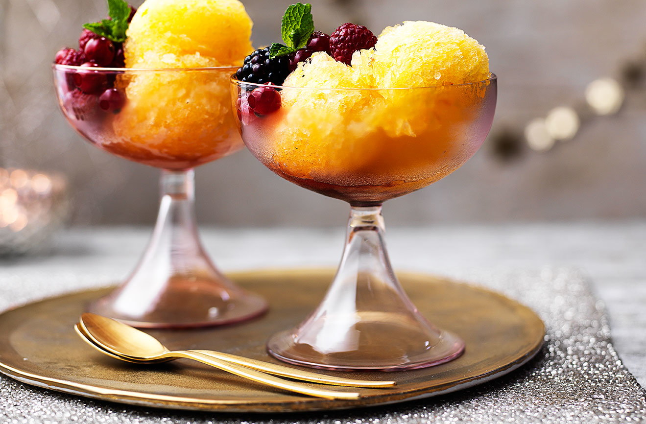 prosecco and tangerine sorbet with red berries tesco
