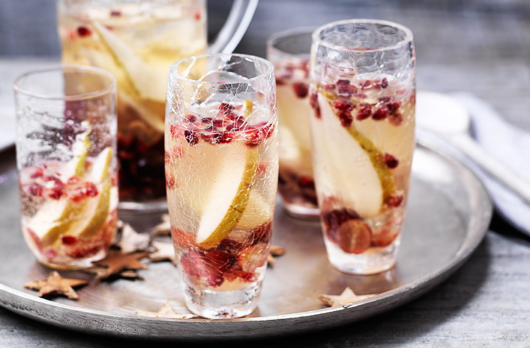 Sangria gets a sparkling makeover, making it the perfect drink for an elegant festive gathering
