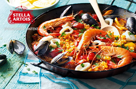 Make your paella punchy with saffron-infused fish stock and carefully placed fresh tiger prawns, mussels and squid