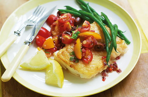 Pan fried cod with hot Mediterranean tomato salsa THUMB