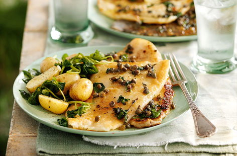 Pan fried lemon sole with caper and parsley dressing hero