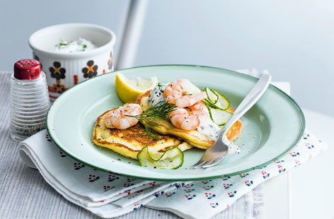 Buttermilk pancakes with prawns and dill