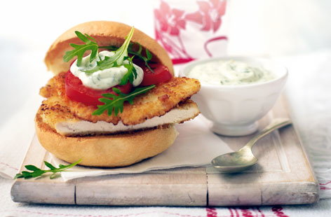 Parmesan chicken burgers with lemon and herb mayo THUMBS
