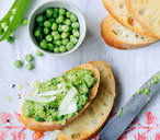 Pea parmesan and artichoke crostini THUMB